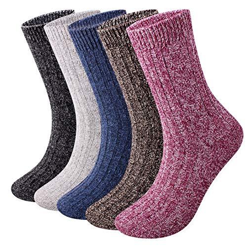 ElifeAcc 5 Paar Damen Socken Wolle Damen Jahreszeiten Socken Größe EU 35-43 Multipack (Blau/Braun/Lila/Grau/Schwarz, 38-43)
