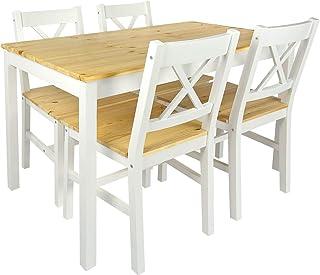 Merkell Conjunto Mesa de Pino y 4 sillas de Madera a la Sala de Estar Comedor White Pine
