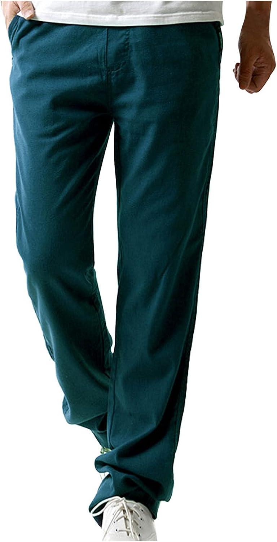 QTOCIO Sweatpants Men's Linen Casual Pants Men's Loose Straight