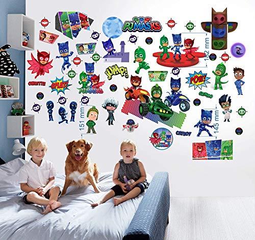 PJ MASKS Wandsticker für Schlafzimmer Jungen und Mädchen Wandbild PJ MASKS Wandtattoo 70cm x 35cm x 2 Blatt vinyl