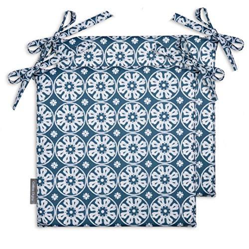 Celina Digby® Juego de 2 cojines de jardín impermeables con cómodo acolchado de espuma para exteriores o conservatorios. Tamaño: 36 x 36 cm, 35,5 x 35,5 cm (azul Casablanca)