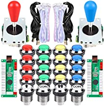 EG STARTS Arcade Gamepads & Standard Controllers DIY Games MAME Kit 2 Ellipse Oval Joystick + 20 LED Chrome Buttons (Mixed-Colors)