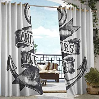 S Brave Sky Anchor Outdoor Curtain Set of 2 Panels Tattoo Style Navy Symbol Sketch with Ribbon and Vintage Lettering Insignia Outdoor Curtain for Balcony Charcoal Grey White