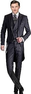 Wemaliyzd Men's Classic Fit 3 Pieces Tuxedo Suit Long Tail Jacket Waistcoat Pants