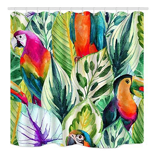 JOOCAR Design-Duschvorhang, tropische Papageien, exotische Palmen, Bananenblätter, Wasserfarben, Stoff, Badezimmer-Dekor-Set mit Haken