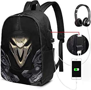 Unisex 17 Inch Backpack with USB Interface - Ov-erw-atch Business Travel Backpack
