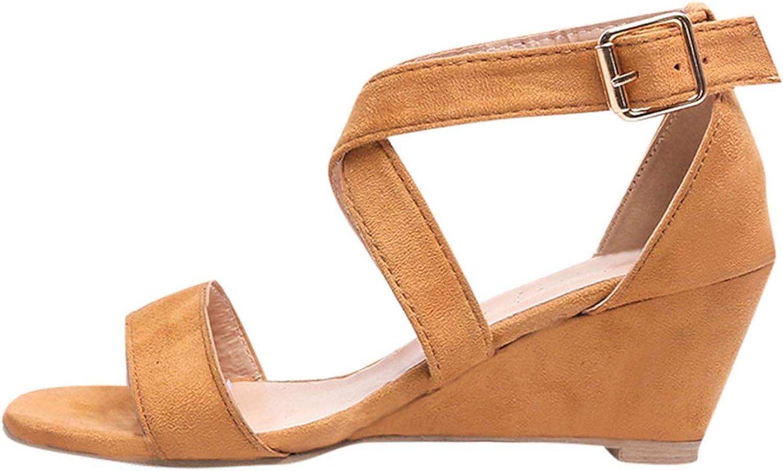 High Heels Sandals Women Casual Low Heel Open Toe shoes Rome Buckle Wedges Sandals