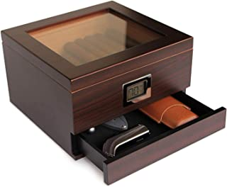 Glass Top Handcrafted Cedar Humidor with Front Digital Hygrometer, Humidifier Gel, and..