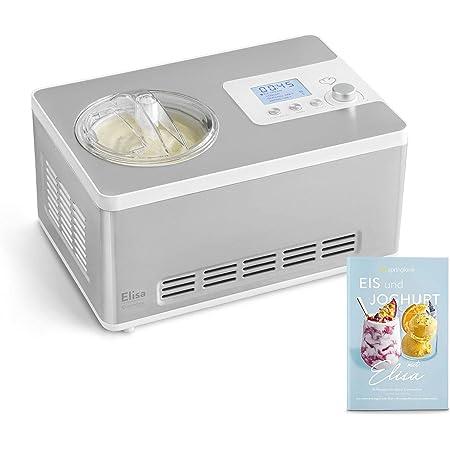 Sorbetière Turbine à Glace Elisa avec compresseur de refroidissement et fonction de chauffage, 2 L Ice-Cream & Joghurt-Maker en acier inoxydable et réservoir à glace