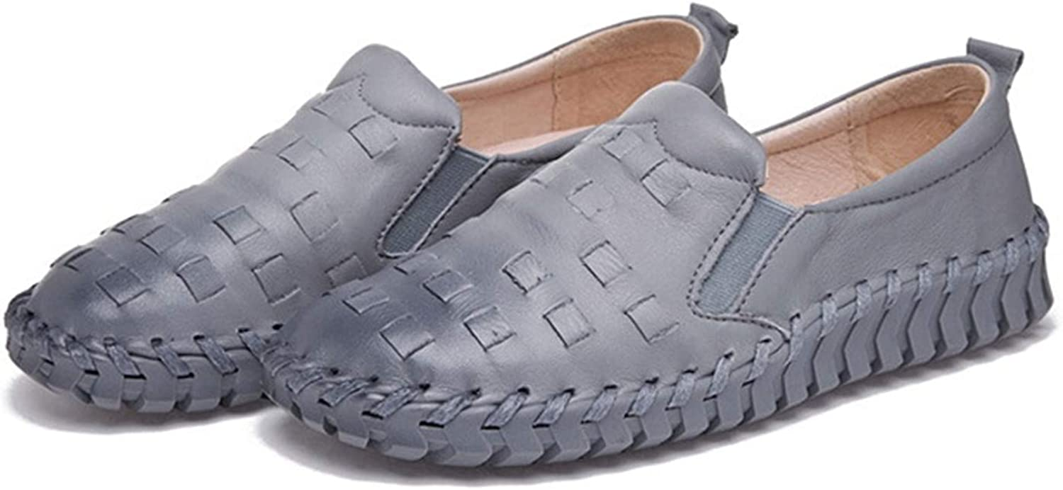 Dreamstar New Leather Flats Soft Soles Handmade Leather Woven Women's shoes