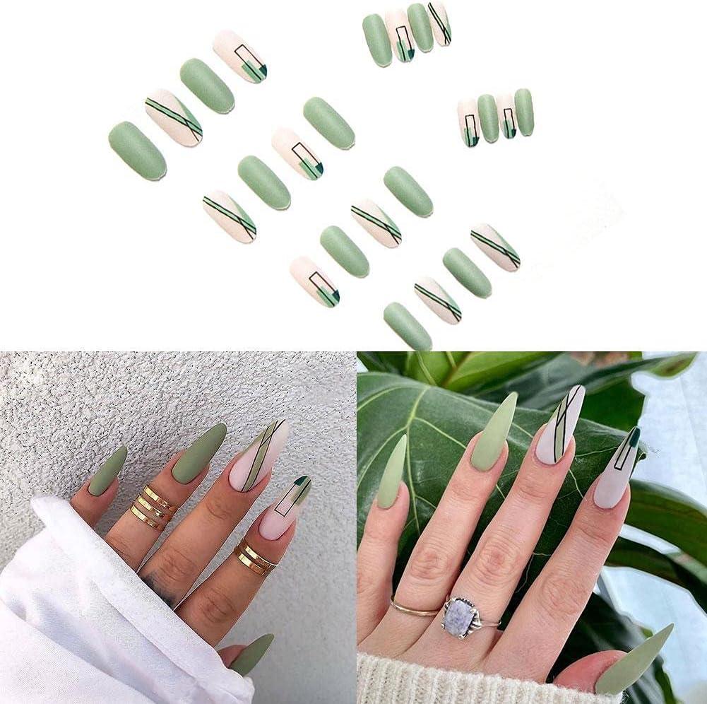 YoJiSa 24 Pcs Reusable Press Max San Jose Mall 59% OFF on Nails Green Pa False Matte