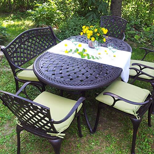 Lazy Susan June 6 Seater Oval Sand-cast Aluminium Garden Furniture Set, Maintenance-free, Weatherproof, Antique Bronze Finish, Matching Rose Chairs, Rose Bench | Stone Cushions