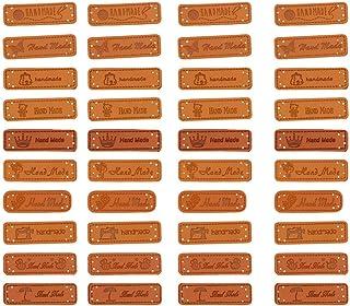 Etiquetas feitas à mão de couro PU SUPVOX para scrapbook Costume 40 peças (estilo misturado)