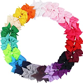 "CÉLLOT 40pcs 3.5"" Pinwheel Bow Grosgrain Ribbon Hair Bows Clips for Baby Girls Toddlers Kids in Pairs"