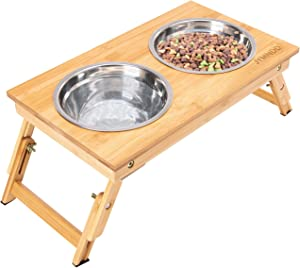 JYMNDD Elevated Dog Bowls,Adjustable Raised Dog Cat Food and Water Bowls with Stand,Durable Bamboo Dog Feeder with 2 Stainless Steel Bowls,Pet Dish for Small to Large Dogs and Cats,No Need Assemble