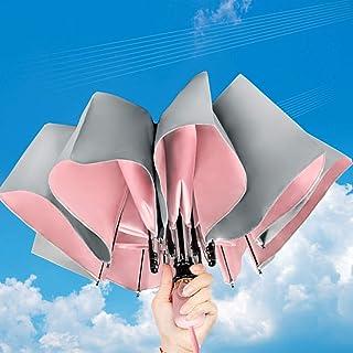 TOPOWN 日傘 レディース 折りたたみ傘 自動開閉 UVカット率99.9% 完全遮光 遮熱 超耐風 超撥水 紫外線遮断 折り畳み傘 小型 超軽量 携帯便利 晴雨兼用 梅雨対策 収納ポーチ付き(ピンク)