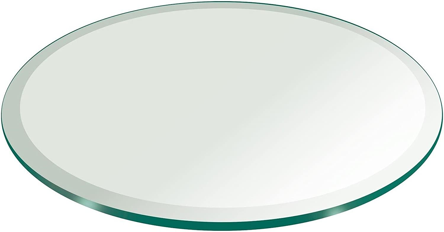 30  Inch Round Glass Table Top 3 8  Thick Tempered Beveled Edge by Fab Glass and Mirror