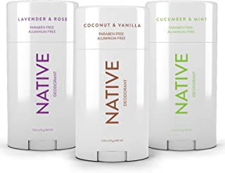Native Deodorant - Natural Deodorant - Vegan, Gluten Free, Cruelty Free - Free of Aluminum, Parabens & Sulfates - Born in the USA - 3 Pack - Cucumber & Mint, Coconut & Vanilla, Lavender & Rose