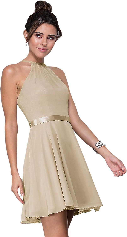 Zhongde Women's Halter Straps Short Dress Evening Party Gown With Belt