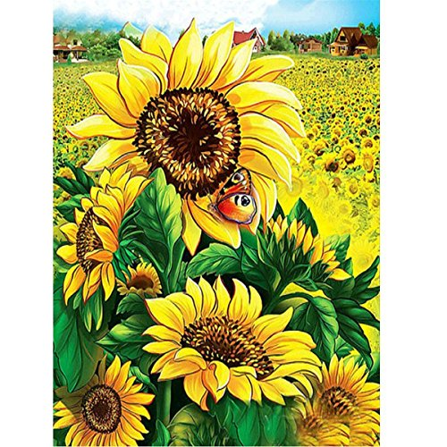DIY 5D Diamant-Malerei Von Nummer Kits Sunflower,DIY 5D Diamant Painting Sonnenblume Full Strass Stickerei Kreuzstich Bilder Arts Craft für Home Wand-Dekor, 30 x 40 cm