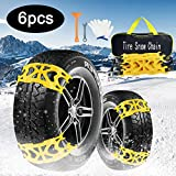 AgiiMan Snow Chains for Cars -Adjustable Emergency Anti-Skid 6Pcs Chains for Ice Road, Sand and Mud Road, Uphill Road Universal Snow Chains.L