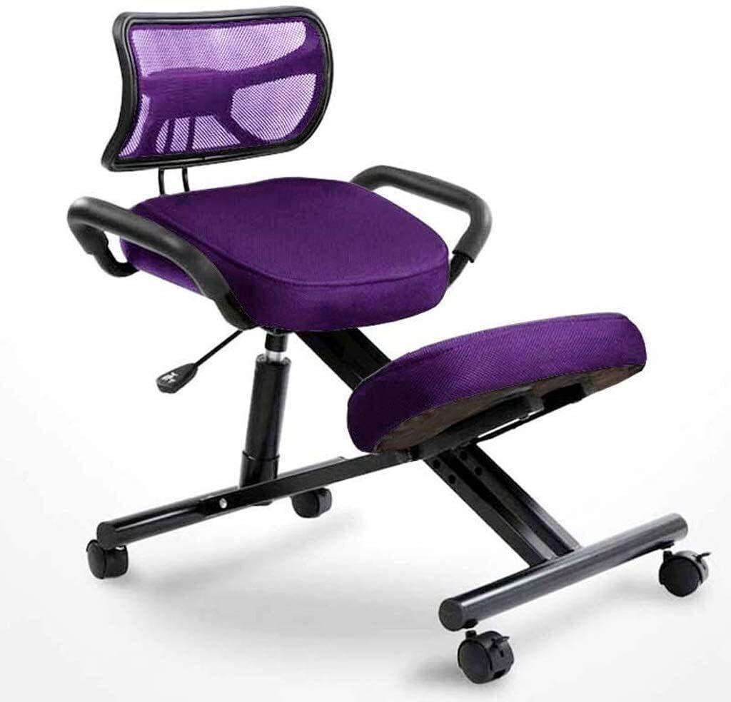 HUXIUPING Genoux Chaise Chaise de Bureau Ergonomie Fatigue Président méditation Soulager Président étude avec Les poignées avec Pulleys avec Dossier (Color : Blue) Purple