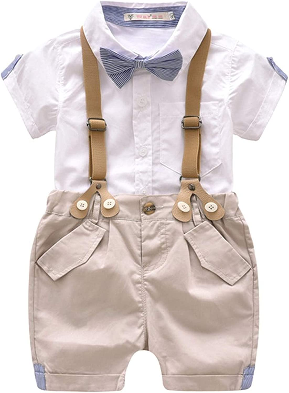 Toddler Boys 2 Deluxe Piece Gentleman Free shipping Outfit Shirt+ S Bid Polo Bowtie+