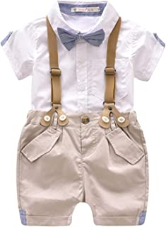 Toddler Boys 2 Piece Gentleman Outfit, Bowtie+ Polo Shirt+ Bid Shorts Overalls Set