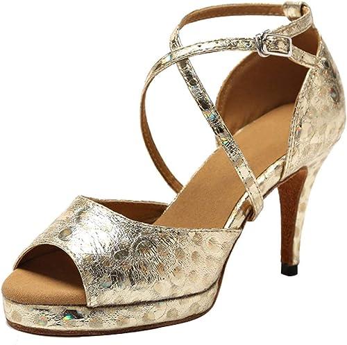 ZHRUI GL225 plataforma para Damas Sintético Tango Latino Salón de Baile zapatos de Baile Profesional Boda Sandalias (Color   oro-8.5cm Heel, tamaño   2.5 UK)