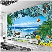 Wkxzz 壁の背景装飾画 カスタム写真壁紙サンゴ礁ステレオ海洋風景ルームテレビの背景地中海海景壁画壁紙-120X100Cm