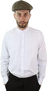 Giobellini Mens Retro Peaky Blinders Removable Collar Stripe Grandad Nehru Collarless Shirt Royal-Blue