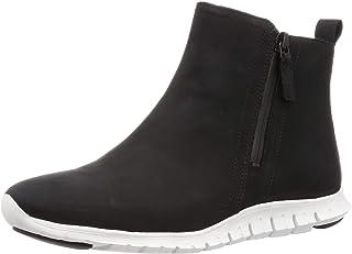 Cole Haan Women's Zerogrand Side Zip Bootie Waterproof Ankle Boot, BLACK NUBUCK/OPTIC WHITE, 6.5 B US