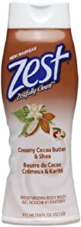Zest Body Wash, Creamy Cocoa Butter & Shea 18 oz (Pack of 2)