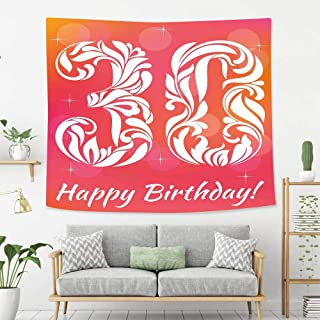 Creative Custom Tapestry 30th Birthday Decorations 30 Years Birthday Theme Decorative Font Floral Elements Pink Orange White Wall Art Decoration for Bedroom Living Room Dorm, Window Curtain Picnic Mat