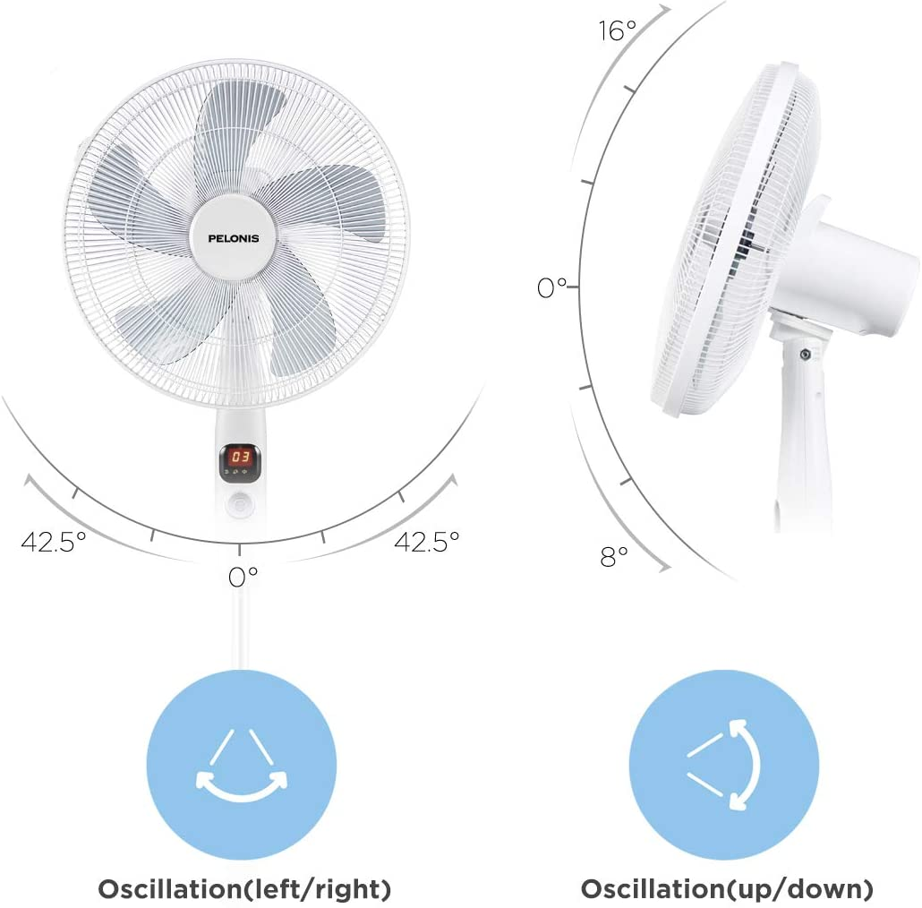 12-Hour Timer and Adjustable Heights PELONIS PFS40D6ABB DC Motor Ultra Quiet 16 Inch Pedestal Sleeping /&Baby Black Remote Control High Energy Efficiency Standing Fan Speed