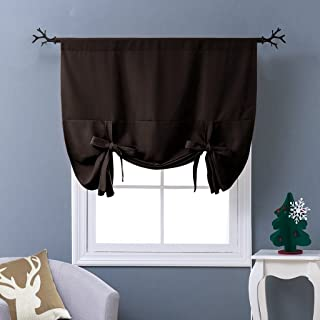 NICETOWN Balloon Blind Curtain for Doors - Tie Up Shade Blackout Curtain for Bedroom Window (Toffee Brown, Rod Pocket Panel, 46 inches W x 63 inches L)