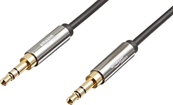 AmazonBasics Male to Male Stereo Audio Aux Cable with Gold Plated Connectors- 8 Feet