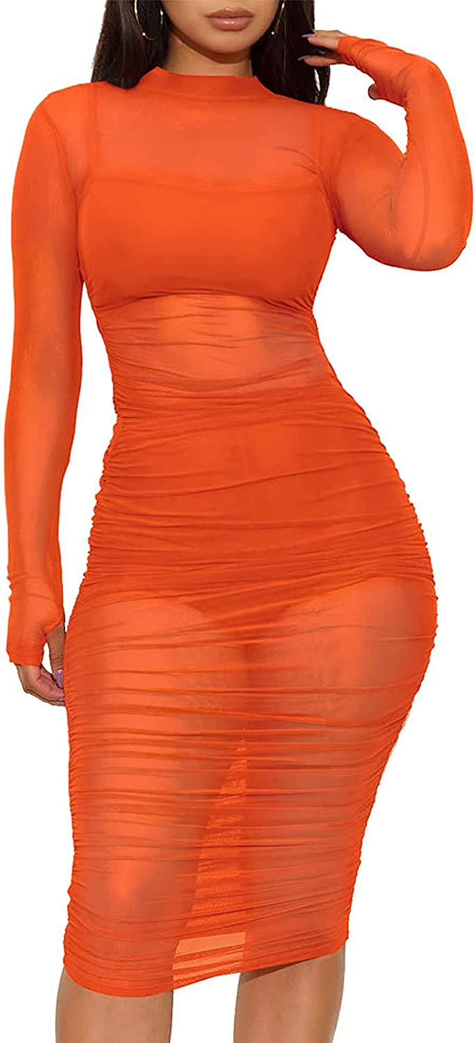 Halfword Women's Sexy See Through Mesh Ruched Midi Dress Long Sleeve Swimsuit Cover Ups Elegant Party Club Outfits
