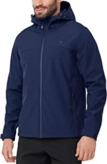 Softshell Jacket Men Hooded Fleece Lined Outdoor Jackets Windproof Water Resistant for Hiking Casual Work