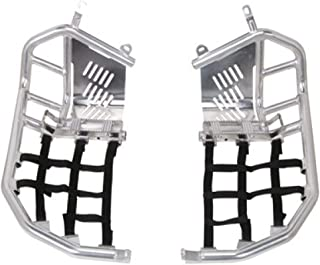 Tusk Foot Peg Nerf Bars With Heel Guards Silver With Black Webbing - Fits: Honda TRX 400EX 1999-2007
