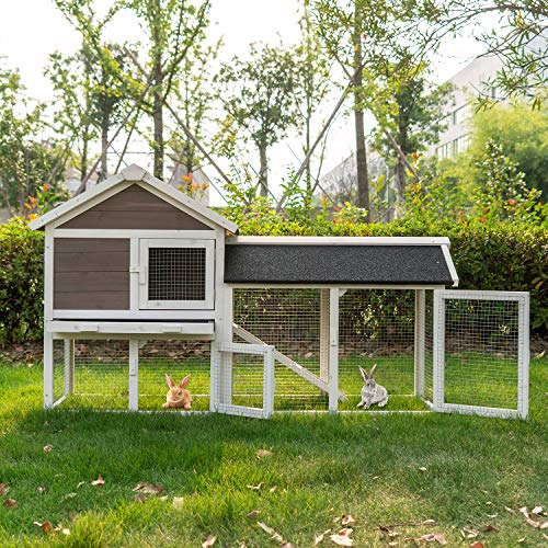 kinbor Wooden Rabbit Hutch Backyard Guinea Pig Coop Outdoor Hen Duck Coop House