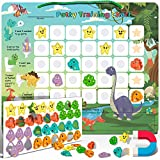 Potty-Training-Chart-with-35 Reusable Magnetic-Stickers. A Dinosaur Potty Chart that Reward Toddlers – Motivational Toilet Potty Training Stickers Chart for Boys & Girls (Dinosaurs)
