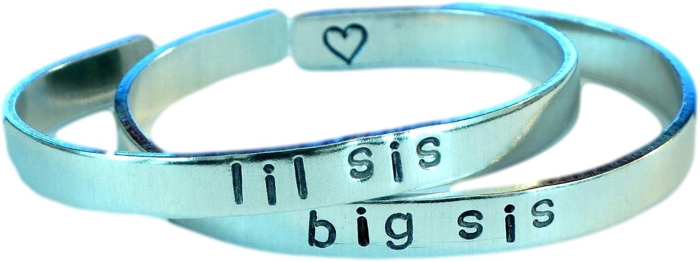 Big sis/Lil sis - Hand Stamped Aluminum Cuff Bracelets Set Forev