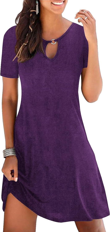 Ebifin Womens Summer Casual V Neck T Shirt Dresses Short Sleeve Loose Beach Dress