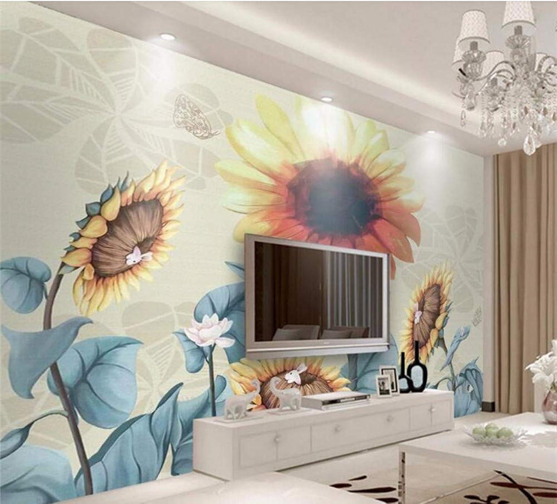 tienda en linea Rureng Rureng Rureng Personalizar Parojoes De Papel Tapiz 3D Pintado A Mano Retro Girasol Murales De Escritorio Mural De Papel Tapiz 3D-200X140Cm  precioso
