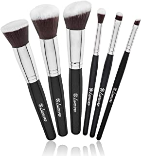 Travel Makeup Brush Set - Professional Kit with 6 Essential Face and Eye Makeup Brushes - Kabuki Eyeshadow Powder Foundati...