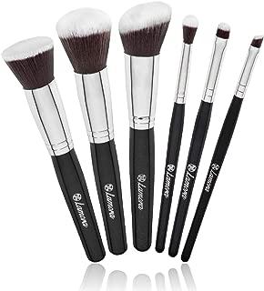 Travel Makeup Brush Set - Professional Kit with 6 Essential Face and Eye Makeup Brushes - Kabuki Eyeshadow Powder Foundation Blush - Synthetic Bristles of Premium Quality for Airbrushed Finish