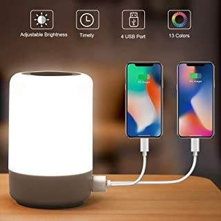 Table Lamp Touch Night Light - 4 Quickly Charge USB Port Bedside Lamps with Dimming Warm White Light 13 Colors RGB Table Lamp for Bedroom Living Room Office Hallways (White)