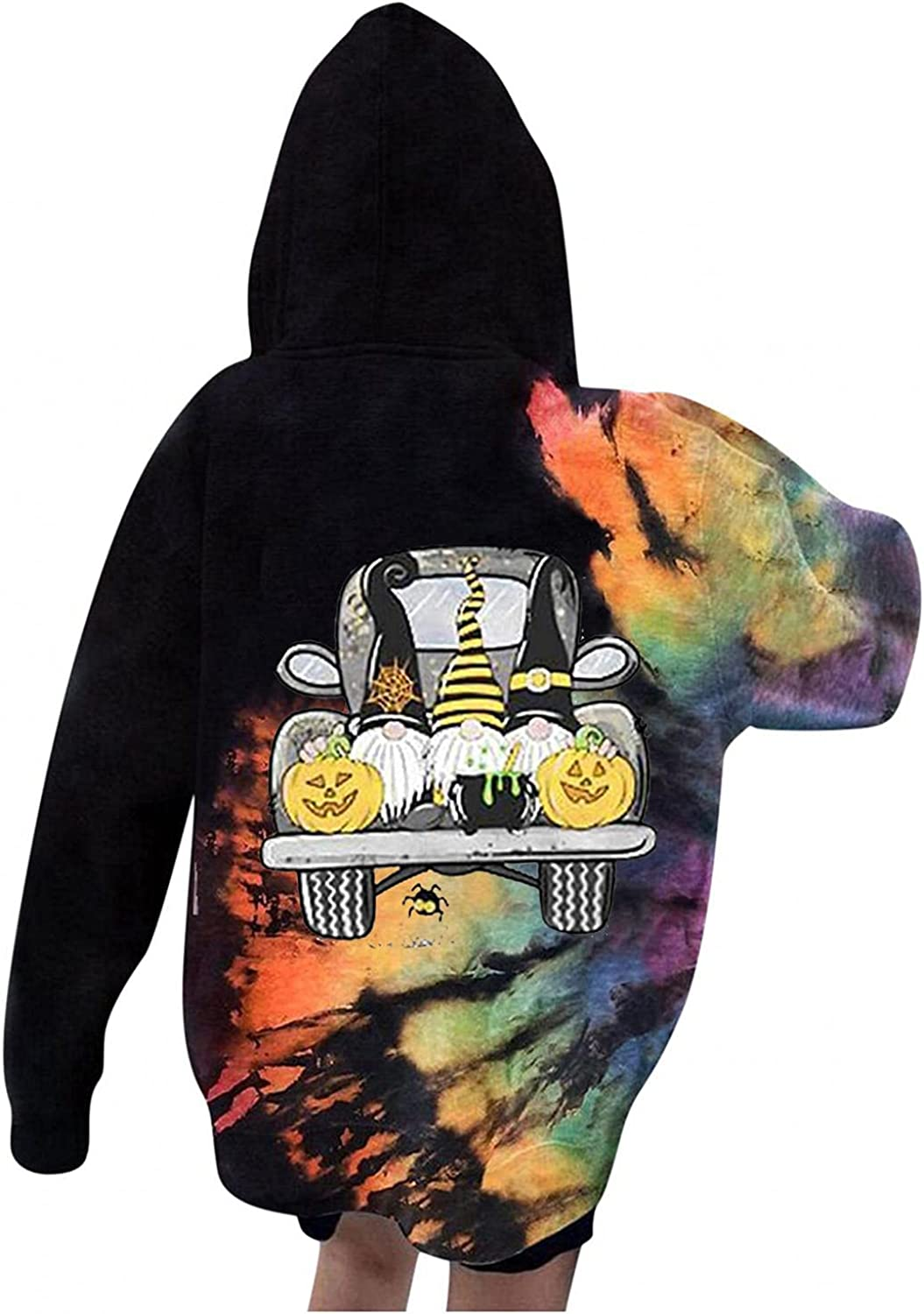 Hoodies for Womens, Tie Dye Graphic Printed Drawstring Sweatshirts Long Sleeve Shirts Loose Hooded Pullover Tops