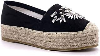 Angkorly - Women's Fashion Shoes Espadrille - Slip-on - Platform - Jewels - Diamond - with Straw Wedge Platform 4 cm